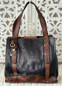 FOSSIL VINTAGE REISSUE North South BLACK WHISKEY BROWN Leather XL Business Tote
