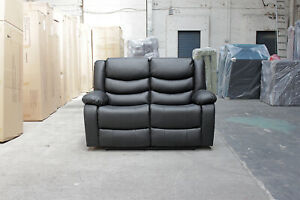 LOTHIAN 2 Seater Black Leather Recliner Sofa 3 LazyBoy Recline Positions