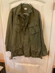 US Army Vietnam Shirt Cotton Rip Stop Poplin Olive Shade 107 DSA 69 Large Long