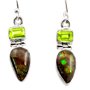 9.61cts Natural Multicolor Ammolite (canadian) 925 Silver Dangle Earrings R15772