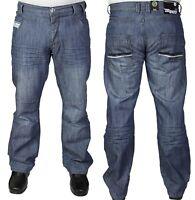 New Mens Enzo EZ90 Classic Fit Straight Leg Stone Wash Jeans
