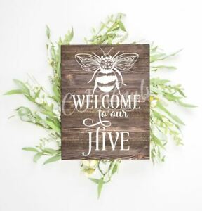 Welcome Bee Sign Vinyl Decal Sticker Box Frame Wood Boards Wall Farmhouse Home