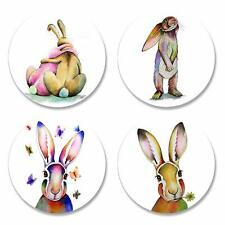 Quilted Bear Rabbits & Hares by Artist Maria Moss Pattern Weights Set of 4x50mm