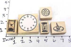 Wooden RUBBER STAMP Block Lot Steampunk Time Clock Sundial Minutes Hours