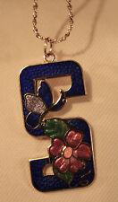 Lovely Blue Enamel Swirled Butterfly Flowers Cloisonne Goldtne Pendant Necklace