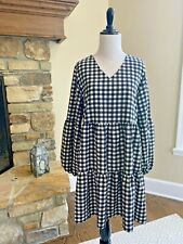 Gingham Print Shirt Dress L Black White V-Neck Long Sleeve Tiered Large