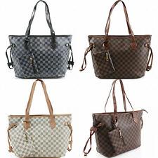 Women's Designer Style Tote Bag Checkered Faux Leather Shoulder Handbag