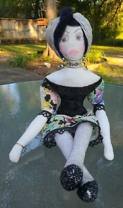 """1920's BOUIDOIR BED DOLL STYLE~CLOTH PAINTED FACE~LACE NETTED HOSE~SASSY 26""""LONG"""