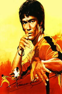Bruce lee movie autograph painting CANVAS PRINT kung fu art decor signed mural