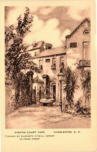 Vintage Postcard - Un-Posted Pirates Court Yard Drawing Charleston SC #5067