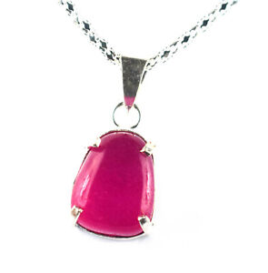 Natural Fancy Ruby 30.95 Ct Gemstone Men's Silver Pendant Father's Day Discount