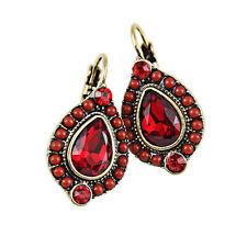 Bohemian Vintage Style NICKEL-FREE Rhinestone Crystal RED Earrings Jewelry Gift