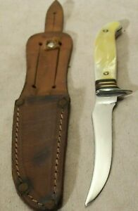 1930's~WESTERN~PAT. 1967479~CRACKED ICE~RARE ANTIQUE BIRD & TROUT HUNTING KNIFE~