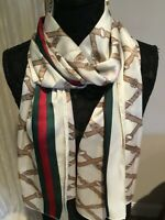 NWT authentic gucci white 100% silk scarf made in italy ,with green red web 70""