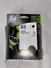 NEW HP 65 2 Pack Black & Tri-Color Printer Ink Exp 04/20
