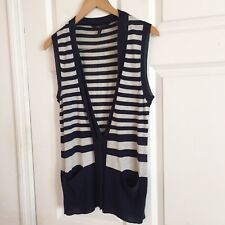 3ec19bd02c13d3 BcbgMaxAzria Sleeveless Cardigan Sweater Striped Silk Cashmere Size M