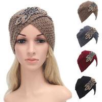 Cn _ Femme Hiver Chaud Strass Feuille Bonnet Tricot Crochet Turban Chapeau de