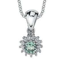 Sterling Silver Aquamarine CZ pendant Necklace set with Pave cubic zirconias
