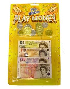 PLAY MONEY Fake Notes Coins Pounds Sterling £ Cash Pretend Role Play Shop Keeper