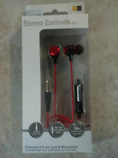 New Red Case Logic Earbuds with Mic Universal For Cell Phones and MP3 Players
