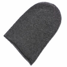 Mens 100% Cashmere Beanie Hat - 'Dark Gray' - hand made in Scotland RRP $120