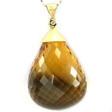 De Buman 18k Yellow Gold Citrine and Diamond Solid Pendant (G-H, SI1-SI2)