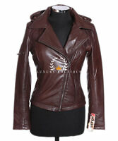 Emma Brown Ladies Biker Style Hooded Retro Real Soft Sheep Leather Jacket