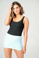 Women Blue PVC Skirt Ladies Micro Mini Sexy Bodycon Pencil Straight Skirts 040