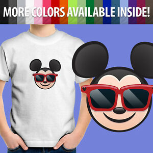 Toddler Kids Tee Youth T-Shirt Boy Gift Cute Sunglasses Mickey Emoji Cool Smile