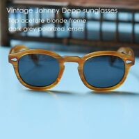 Vintage polarized sunglasses Johnny Depp eyeglasses mens blonde frame black lens