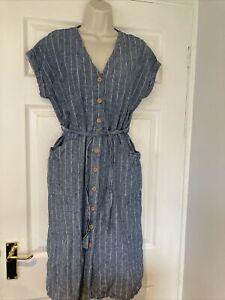 Linen blend Striped Button Front Large Pockets Dress Size 12