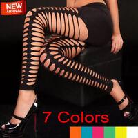 Women's Lady Sexy Clubwear Mesh Ripped Stretchy Skinny High Waist Leggings Pants