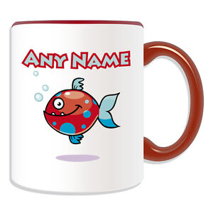 Personalised Gift Spotted Fish Mug Money Box Cup Animal Sealife Design Cute Name