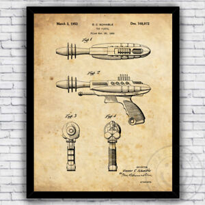 Ray Gun Retro Space Toy Sci Fi 1950s Patent Art Print - Size and Frame Options