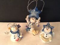 Lot of 3 Christian Snowman Glass Angel Ornaments Figurines