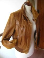 Ladies NEXT tan real leather JACKET COAT size 8 biker bomber cafe racer
