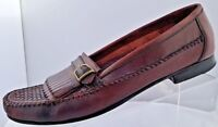 Men's Oleg Cassini Brown Monk Strap Tassel Slip On Dress Shoe Loafers Size 9.5