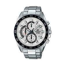 Casio Men's Edifice Quartz Watch with Stainless-Steel Strap, Silver, 4 (Model: E