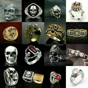 Fashion Men Stainless Steel Jewelry Punk Gothic Skull Biker Rings Gift Size 6-13