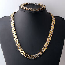 Stainless Steel Hot Link Chain Necklace & Bracelet Set Men's Jewelry Silver Gold