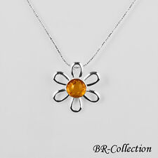 Beautiful Sterling Silver Flower Pendant with Natural Baltic Amber Stone