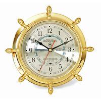 WALL CLOCKS - BRASS SHIPS WHEEL TIDE & TIME WALL CLOCK - NAUTICAL DECOR