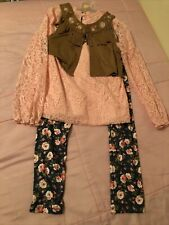 Girls Pink, Brown And Floral 3 Piece set s10/12 By Wonder Nation