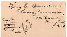 1928 Orig Signature American Chamber Music Composer FRANZ BORNSCHEIN 1879-1948