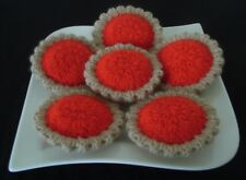 6 Hand Knitted Strawberry Jam Tarts - Toy Food