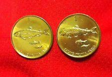 Slovenia Brown Trout Fish Unique Slovenija Tolar Golden Brass Coin Cufflinks!!