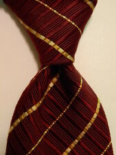 CANALI Men's Silk/Cotton Necktie ITALY Luxury Thick STRIPED Burgundy/Yellow EUC