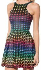BLACK MILK XL RAINBOW SPACE INVADER REVERSIBLE SKATER DRESS MUSEUM