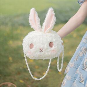 Girl's Lolita Rabbit Plush Crossbody Bag Animal Stuffed Shoulder Bag Pearl Chain