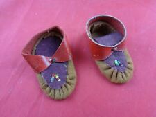 Vintage Doll Moccasins Dark & Light Brown Suede, Beaded, Red Leather